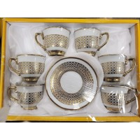 Cups w/ Handle & Saucer (12 Pcs) (125cc)- HW-MC-12-097