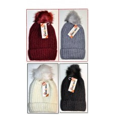 Hat - Women's - Sparkling Woolen Knitted - Asst Colour & Fur (12 Pack)
