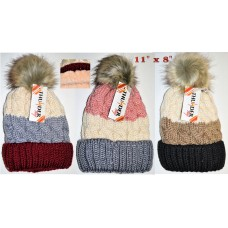 Hat - Cable Knit - Pom (12 Pack)