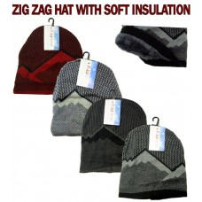 Hat - ZIGZAG - Insulated - Asst Colours (12 Pack)