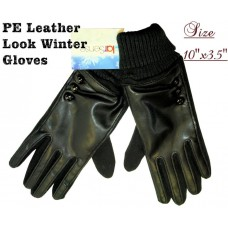 Gloves - Leather Look - Black w/ 3 Buttons (12 Pack)