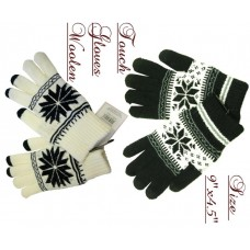 Gloves - Soft Woolen - Snowflake - Touch (12 Pack)