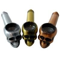 Hand Pipe - Metal Skull (HX1279) (24/Disp)