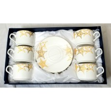Glass Coffee Cups W/Handle & Saucer (Service for 6)