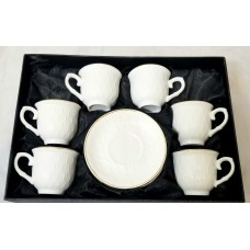 Glass Coffee Cups W/ Handle & Saucer - (Set Of 6)