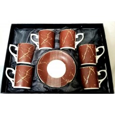 Espresso Cups W/Handle & Saucer (Service for 6)