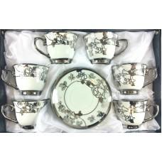 Espresso Cups Silver Design W/ Handle & Saucer (Set Of 12)