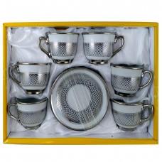 Espresso Cups W/ Handle & Silver Design - (12 Pcs)