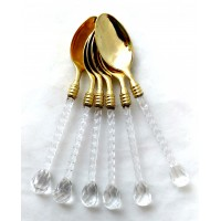 Tea Spoons w/ Glass Handle