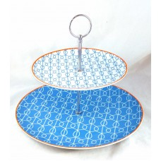 2 Tier Serving Tray - Blue