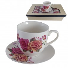 Glass Tea Cups W/ Handle & Floral Design - (Set Of 6)
