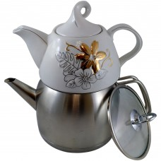 Stainless/Ceramic Tea Set - Unique (2 Pot)