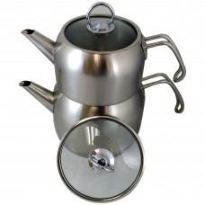Stainless Steel Korkmaz Stackable Tea Pot (2 Pot)