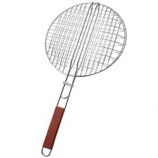 Grill Net With Wood Handle - Round (32 Cm Diameter)