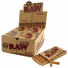 RAW PRE ROLLED CONE TIPS 21MM- 21 TIPS/PACK (20/BOX)