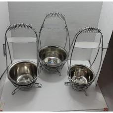 Hookah Charcoal Carrier - Set of 3 - Standard w/Fancy Handle (13.5 cm/16 cm/18 cm Diameters)