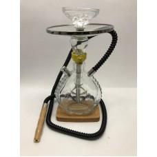 Fancy Glass Hookah w/Wood base (30 CM)