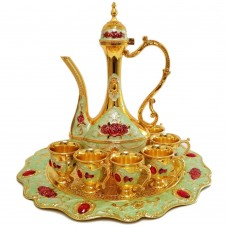 Oriental Set W/ Cups & Tray & Dallah - Red Rose
