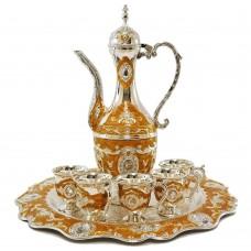 Oriental Set W/ Cups & Tray & Dallah - Swirl