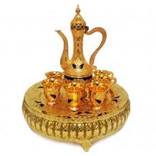 Oriental Set W/ Cups & Tray & Dallah - Gold