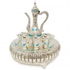 Oriental Set W/ Cups & Tray & Dallah - Silver