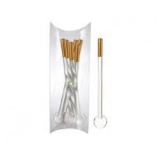 Gold Tea Spoons w/ Glass Handle