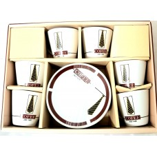 Espresso Cups Gold Design W/ Handle & Saucer (Set Of 12)