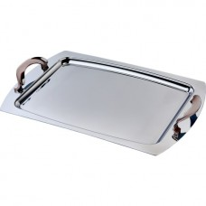 Stainless Steel Serving Tray w/Rose Gold Accent 48cm x 32cm (PSH113)