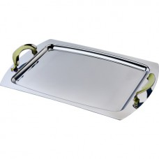 Stainless Steel Serving Tray w/Gold Accent 48cm x 32cm (PSH114)