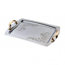 Stainless Steel Serving Tray w/Gold Accent 48cm x 32cm (PSH116)