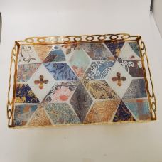 Fancy Gold Serving Tray W/Abstract Design