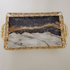 Fancy Gold Serving Tray W/Marble Design