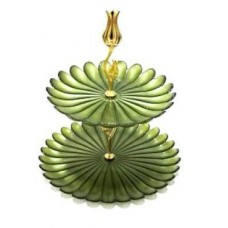 2 Tier Serving Tray - Green