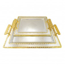Serving Tray W/ Gold & Silver Design - Stainless Steel - Rectangular