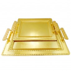Serving Tray Gold W/ Engraved Borders - Stainless Steel -  Rectangular