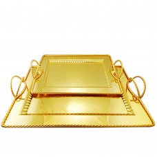 Serving Tray Gold W/ Designed Handles - Stainless Steel - Rectangular