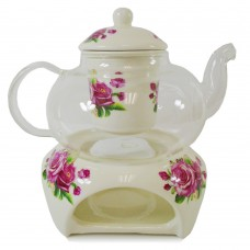 Glass Tea Pot Set W/ Ceramic Filter & Candle Warmer - Pink Rose