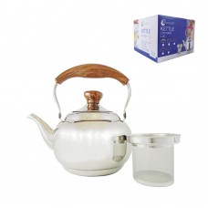Tea Pot W/ Filter And Wood Handle 1L - Phoenix - Stainless Steel