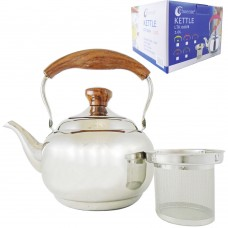 Tea Pot W/ Filter And Wood Handle 2L - Phoenix - Stainless Steel