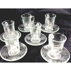 Tea Cups & Saucers with Handle - Glass - Engraved - Smooth