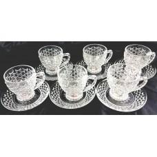 Glass Engraved Tea Tembler W/ Handle & Saucer