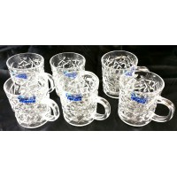 Glass Tea Cups Engraved W/ Handle - Large (Set of 6)