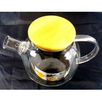 Glass Tea Pot w/ Wood Cap 1L