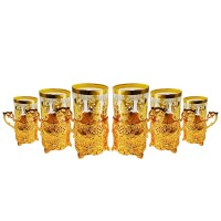 Turkish Tea Cups With Base and Spoons - Gold (Set Of 12)