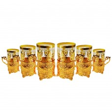 Tea Cups with Base & Spoons - Turkish - Gold