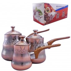 Coffee Warmer W/ Lid Copper Color (Set Of 3)