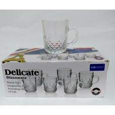 Glass Tea Cups W/ Handle - Delicate Diamonds (Set Of 6)