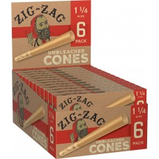Rolling Paper - Zig Zag Unbleached Cone 1 1/4  (24 Packs of 6)