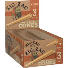 Rolling Paper - Zig Zag Unbleached King Size Cone (24 Packs of 3)