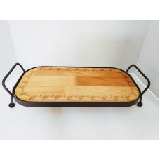 Metal & Wood Serving Tray